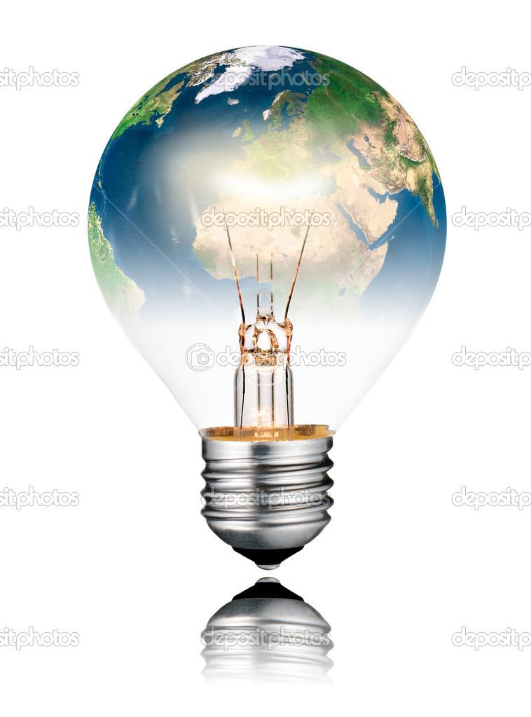 foto lampadina : la lampadina a forma di mondo - Europa, africa e asia. turno lampadina ...