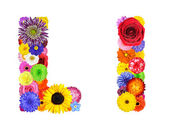 Flower Alphabet Isolated on White - Letter L — Stock Photo