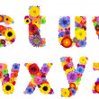 Floral Alphabet Isolated on White - Letters S, T, U, V, W, X, Y, Z — Stock Photo