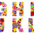 Floral Alphabet Isolated on White - Letters G, H, I, J, K, L — Stock Photo