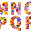 Floral Alphabet Isolated on White - Letters M, N, O, P, Q, R — Stock Photo #31774089