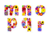 Floral Alphabet Isolated on White - Letters M, N, O, P, Q, R — Stock Photo