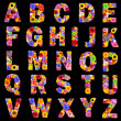 Full Floral Alphabet Isolated on Black- Letters A to Z — Stock Photo