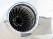 Jet engine closeup on a private airplane - Bombardier — Стоковое фото