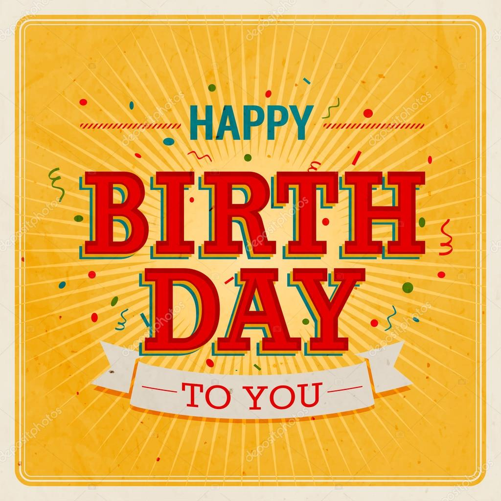 vintage card  happy birthday.  stock vector © picsgeek, Birthday card