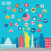 New York icon set. — Stock Vector