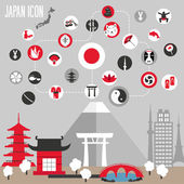 Japan icons set. Vector illustration. — Stock Vector