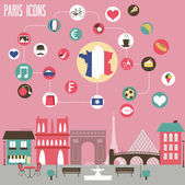 Paris icons set. — Stock vektor