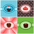Set of cupcake vintages — Stock Vector #9875057
