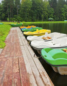 Boats moored to the shore — Stock Photo