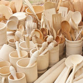 Dishes made of wood — Stock Photo