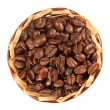 Many coffee beans in a basket top view — Stock Photo