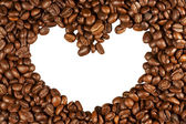 Coffee beans in the shape of heart isolated — Stock Photo