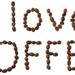 Words from coffee beans isolated - Stock Photo