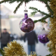 Holiday decorations in the street — Stock Photo