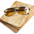 Old book and glasses — Stock Photo