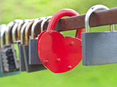 Red heart-shaped lock — Stock Photo