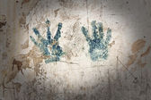 Texture of old wall with handprint and frame — Stock Photo