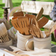Stock Photo: Carved wooden dishware closeup