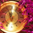 Foto Stock: New year clock on abstract background