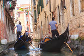 Gondolas floating on the canal in Venice — Stock Photo