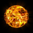 Fire ball with money texture — Stock Photo