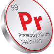 Stock Vector: Praseodymium element