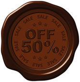 Fifty percent discount on wax seal — Stock Vector