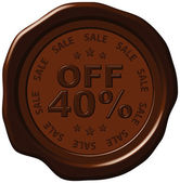 Forty percent discount on wax seal — Stock Vector