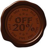 Twenty percent discount on wax seal — Stock Vector