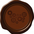 Wax seal with gears — Stock Vector