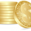 Dollar coins — Stock Vector