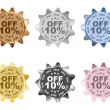 Stock Vector: Ten percent dicount labels