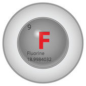 Fluorine button — Stock Vector