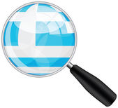 Magnifying glass with greece flag — Stock Vector