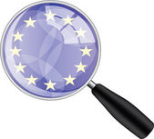 Magnifying glass with eu flag — Stock Vector