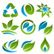 Green and Blue Energy Saving Icons — Stock Vector