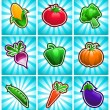 Vector de stock : Glossy Colorful Vegetables