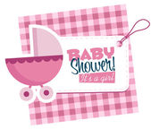 Baby Girl Stroller Invitation Card — Stock Vector