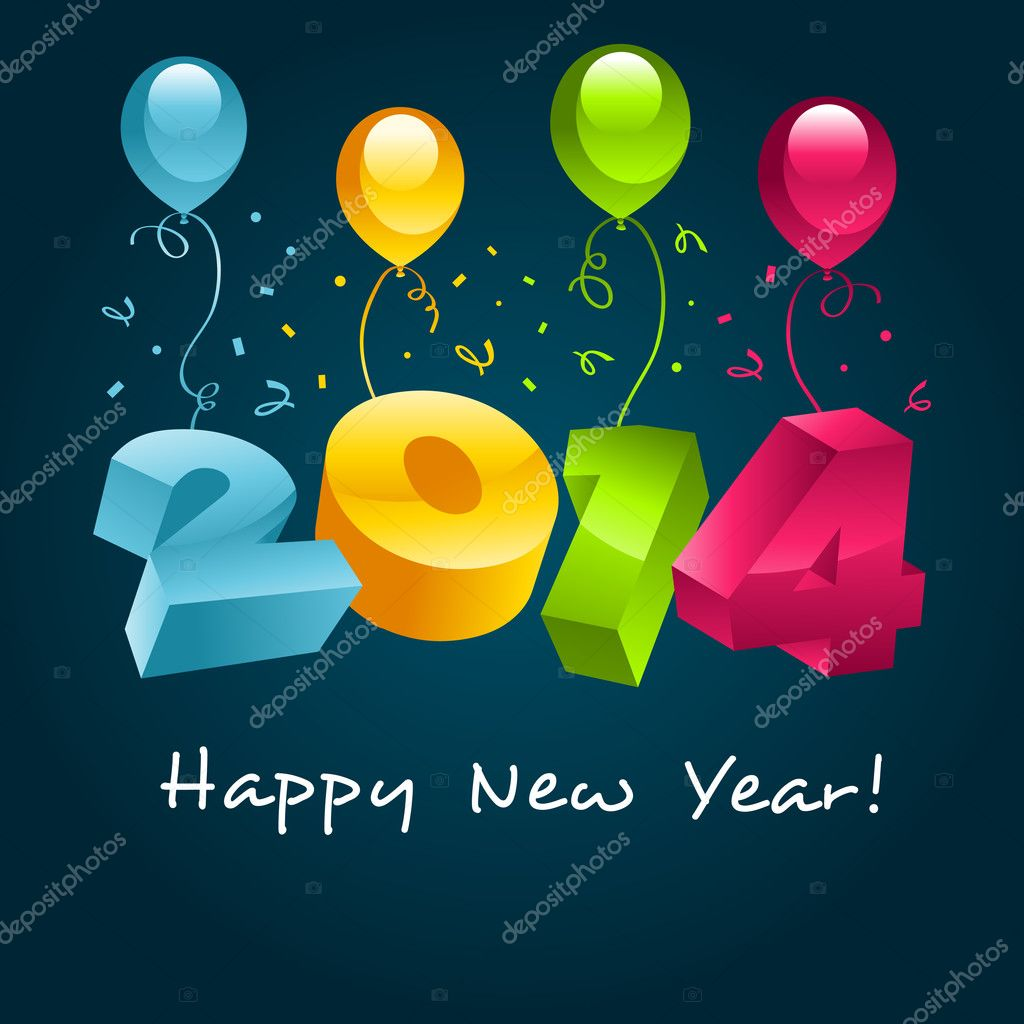 Happy New Year 2014 — Stock Vector © Michel Marcoux #12843664