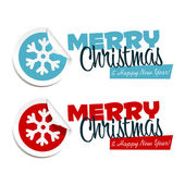 Merry Christmas Snowflake Stickers — Stock Vector