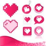 kit di progettazione cuore pixel — Vettoriale Stock