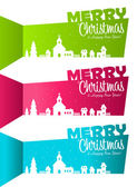 Christmas Banners with Silhouette Village — Stock Vector