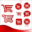 Stock Vector: Red Shopping Cart Design Kit