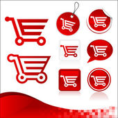 Rot shopping cart-design-kit — Stockvektor
