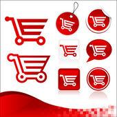 Red Shopping Cart Design Kit — Stock Vector