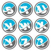 Swoosh Alphabet Icons Set 3 — Stock Vector