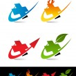 Stock Vector: Swoosh Plus Icons