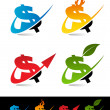 Swoosh Dollar Icons — Stock Vector