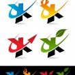 Swoosh Alphabet Icons X - Stock Vector